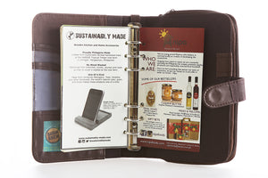 Likhain A6 Ring Binder Dateless Monthly Weekly Planner Wallet Organizer (Choco Brown) - Jacinto & Lirio