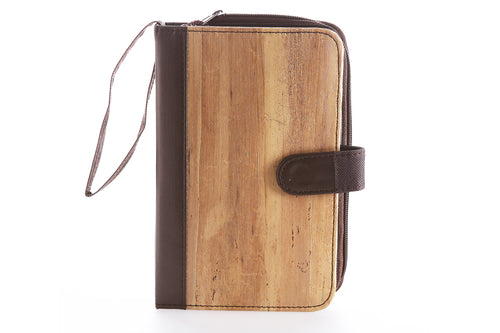 Front of Choco Brown Likhain A6 Ring Binder Dateless Monthly and Weekly Vegan Planner Wallet Mobile made with water hyacinth vegan leather