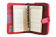 Load image into Gallery viewer, Likhain A6 Ring Binder Dateless Monthly Weekly Planner Wallet Organizer (Crimson Red) - Jacinto & Lirio