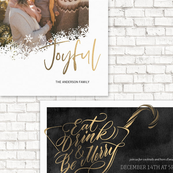 Holiday Cards, Holiday Photo Cards, Holiday Party Invitations, Foil Pressed Holiday Cards