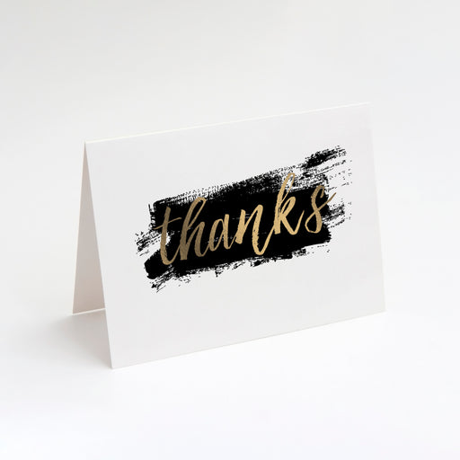 Brushed Thanks Folded Thank You Cards – Perspective Front View