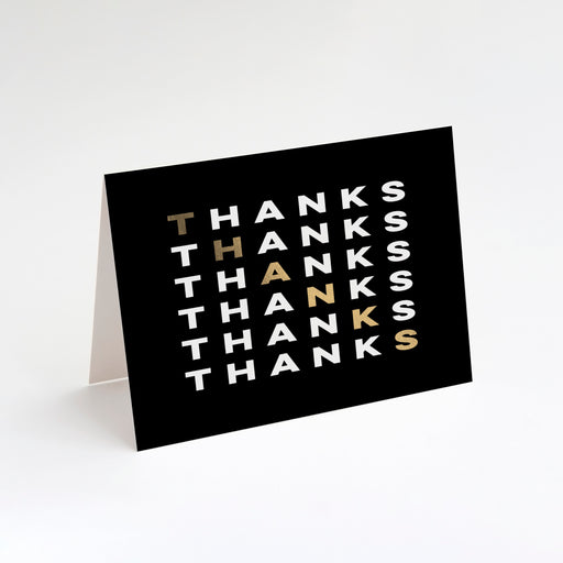 Diagonal Thanks Folded Thank You Cards – Perspective Front View