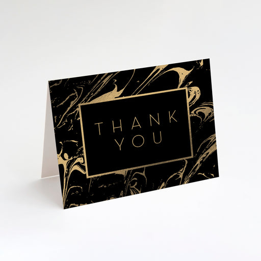 Rich Swirl Thank You Cards – Perspective Front View