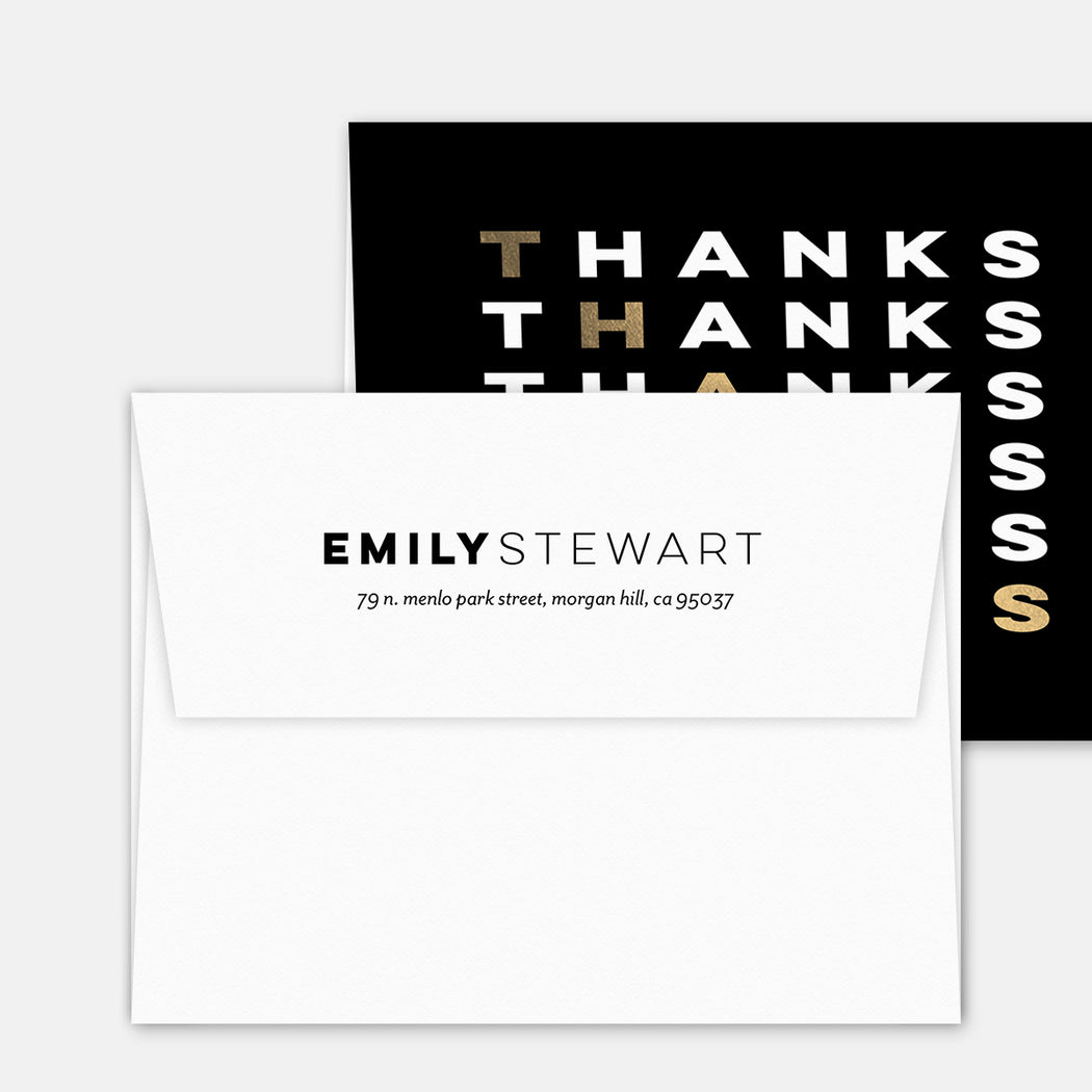 Diagonal Thanks Folded Thank You Cards – Matching Return Address