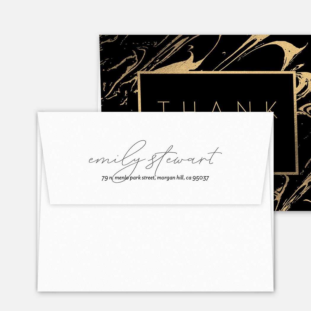 Rich Swirl Thank You Cards – Matching Return Address