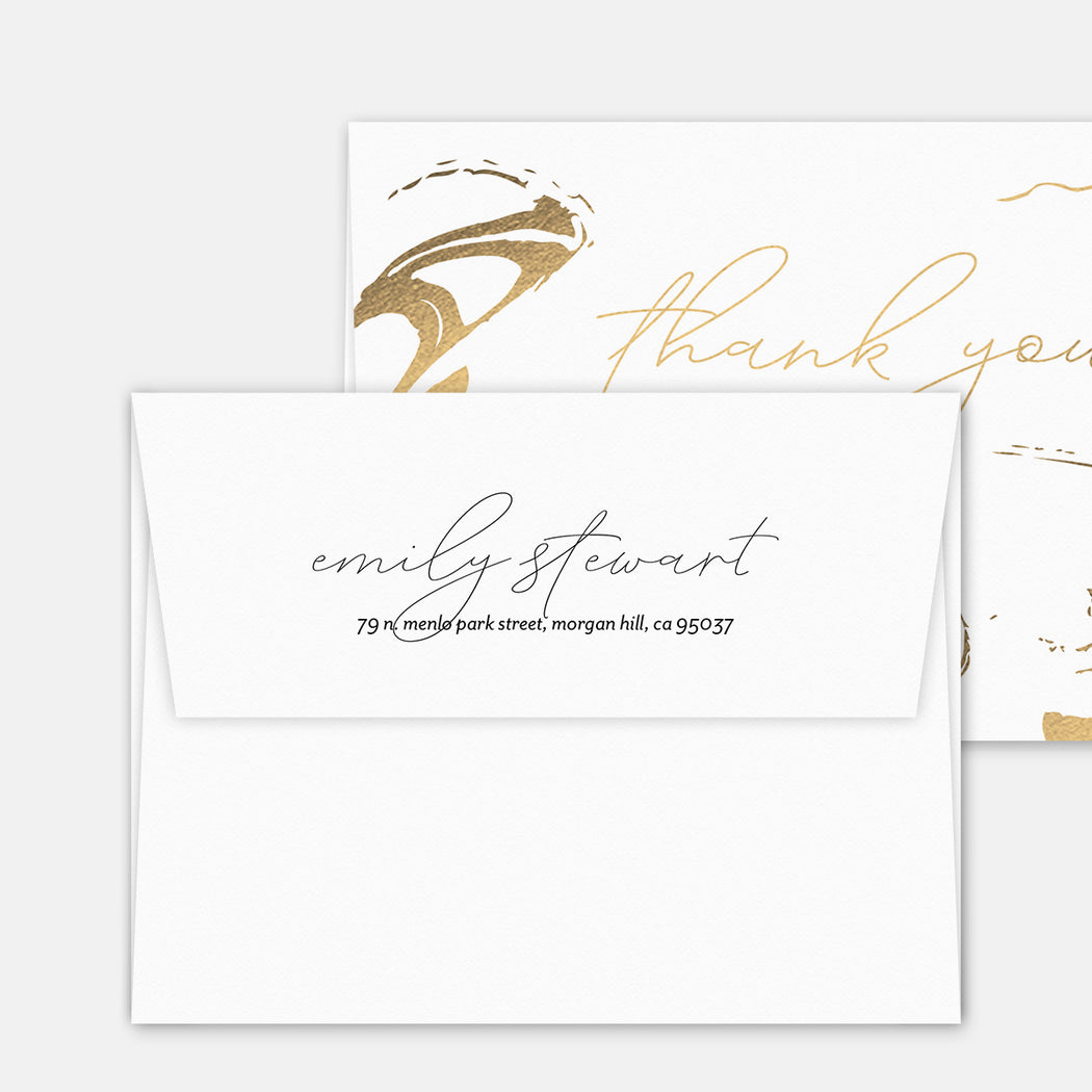 Stamped Swirl Thank You Cards – Matching Return Address