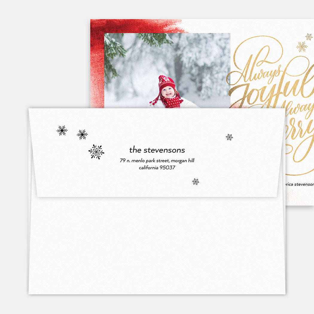 Always Merry Holiday Cards – Printed Return Address