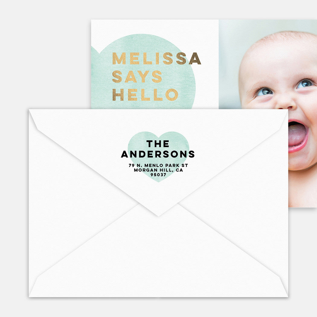 Big Heart Birth Announcement – Printed Return Address