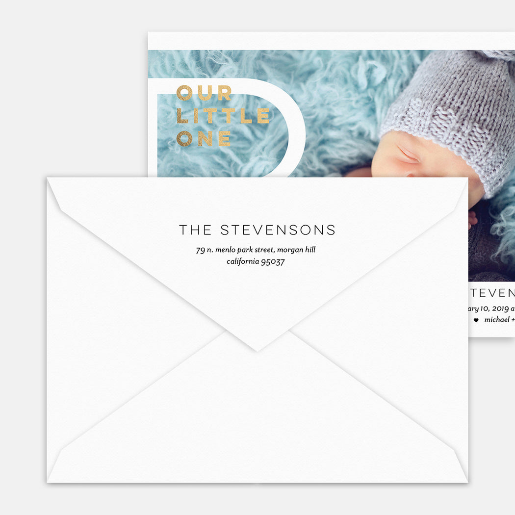 Big Monogram Birth Announcements – Printed Return Address