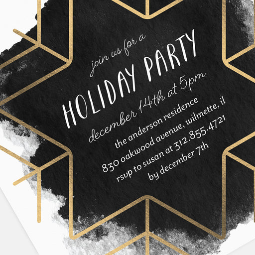 Big Snowflakes Holiday Party Invitations – Detail View