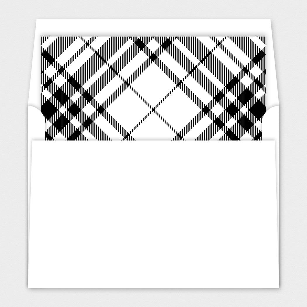 Black Plaid Holiday Cards – Envelope Liners