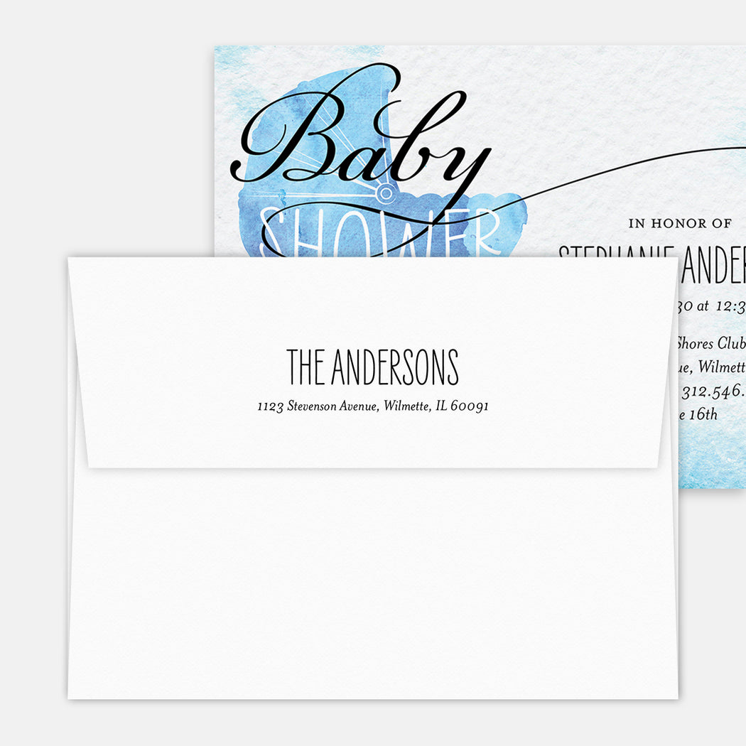 Blue Buggy Baby Shower Invitations – Printed Return Address