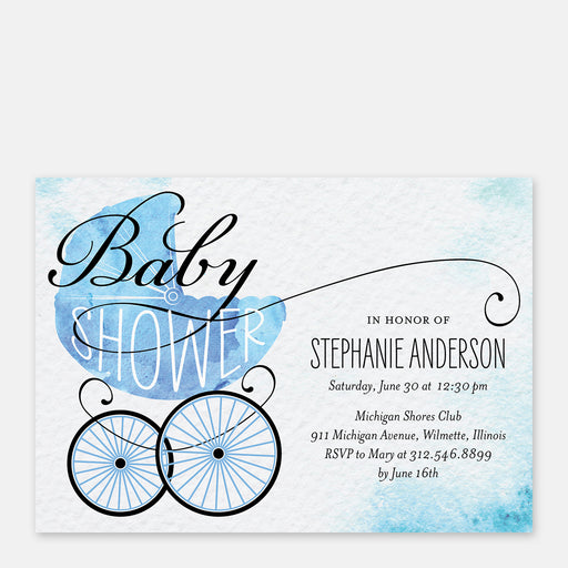 Blue Buggy Baby Shower Invitations – Front View