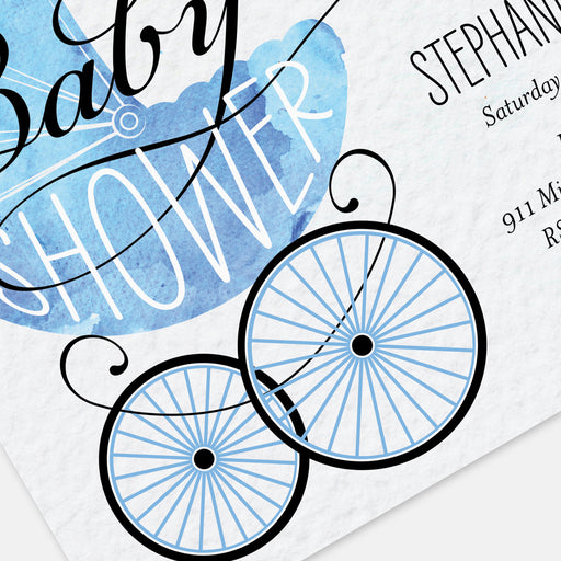 Blue Buggy Baby Shower Invitations – Detail View