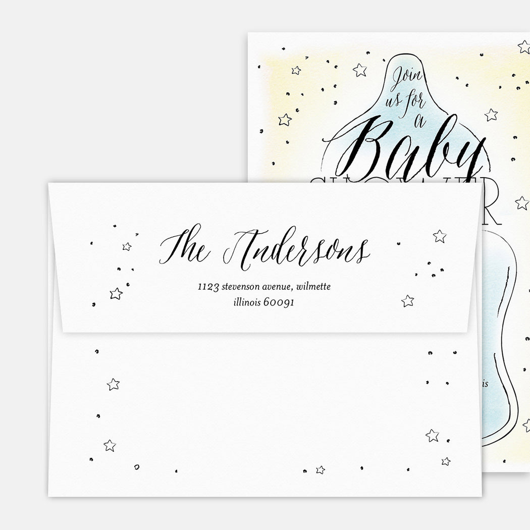 Bottle Centric Baby Shower Invitations – Printed Return Address