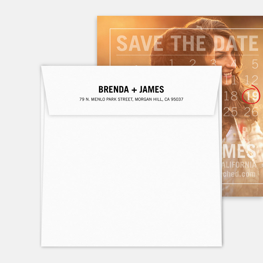 Calendar Overlay Save The Date Cards – Printed Return Address