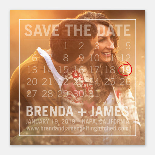 Calendar Overlay Save The Date Cards – Front View