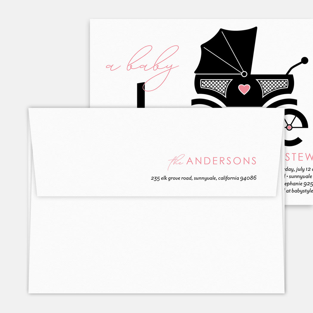 Carriage Heart Baby Shower Invitations – Printed Return Address