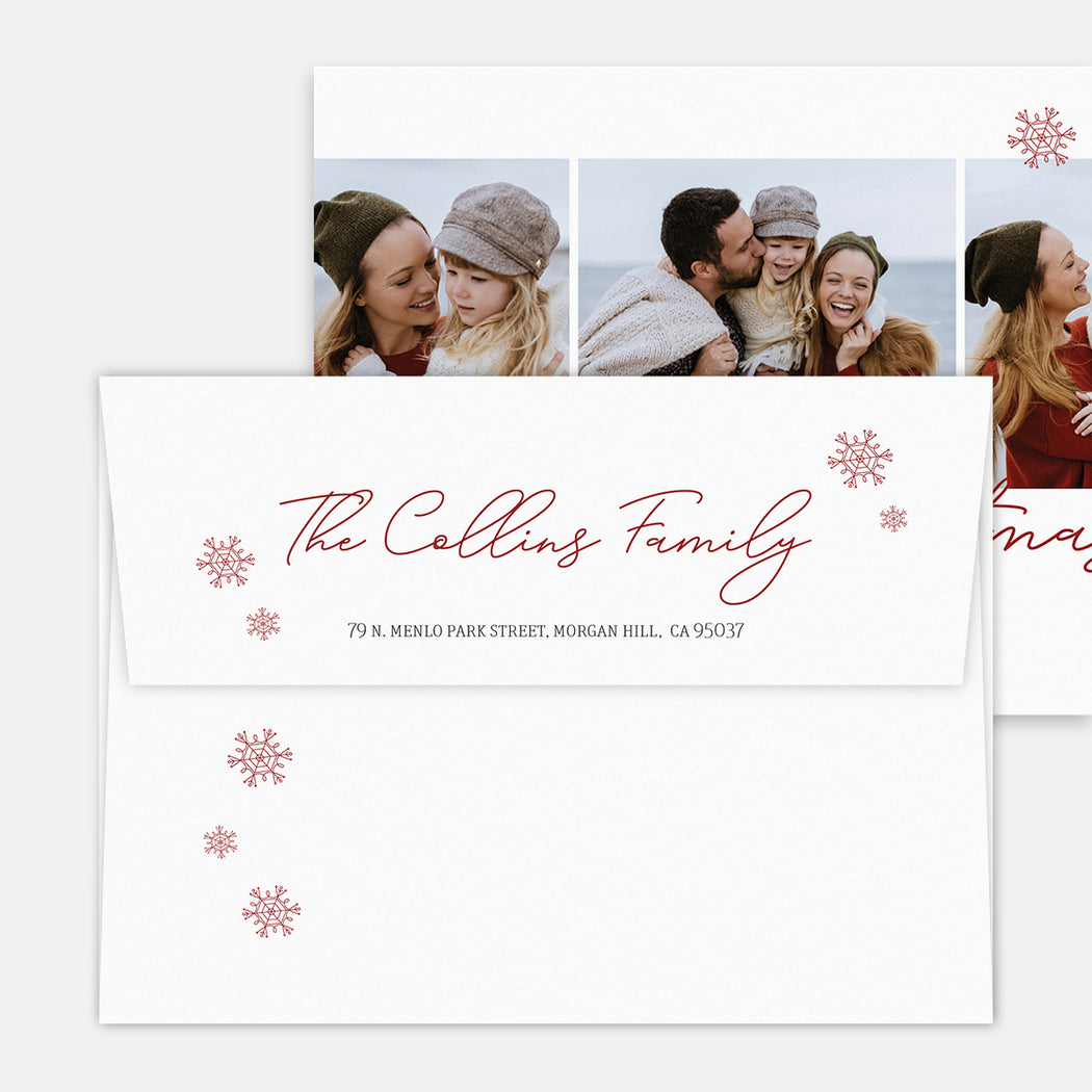 Centered Script Holiday Cards – Printed Return Address