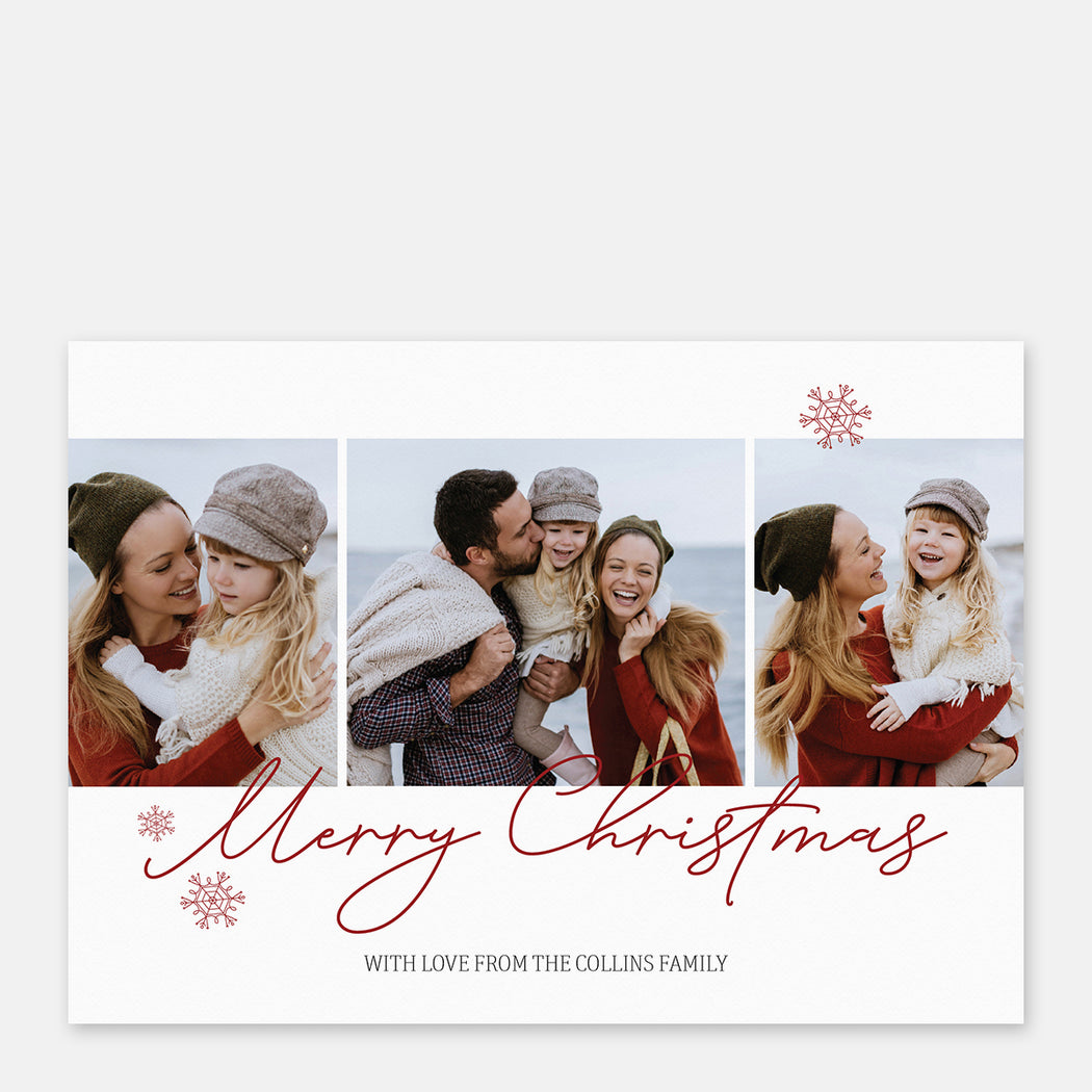 Centered Script Holiday Cards – Front View
