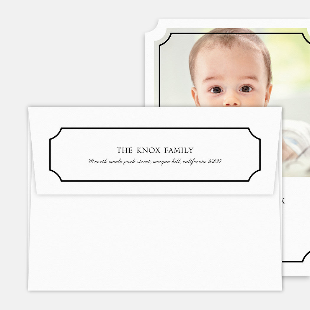 Classic Ticket Birth Announcements – Printed Return Address
