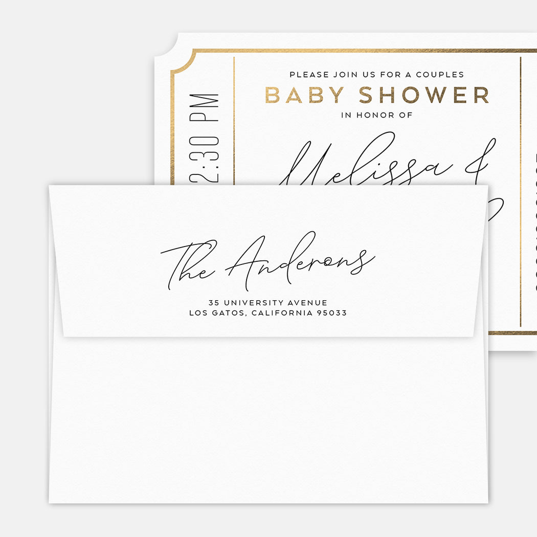 Couples Ticket Baby Shower Invitations – Printed Return Address