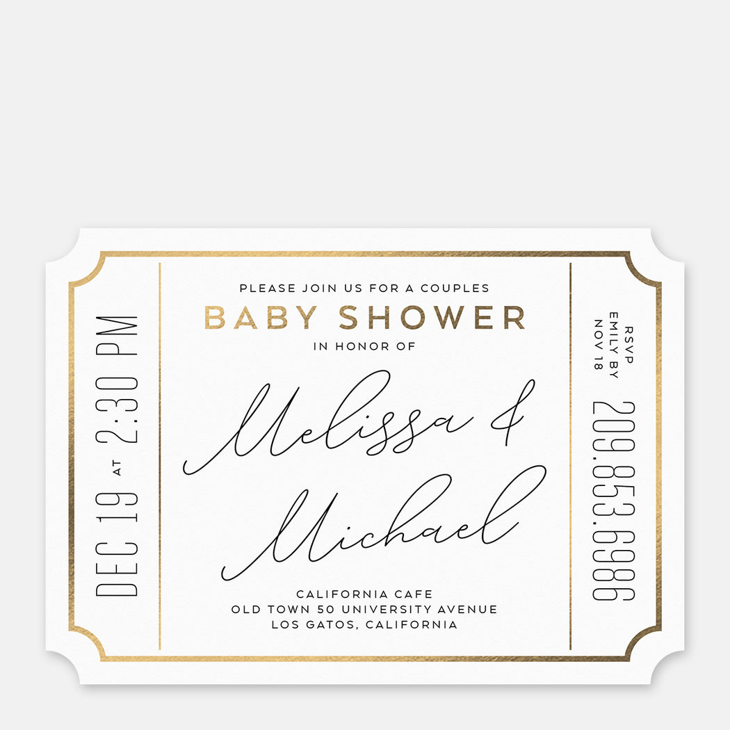 Couples Ticket Baby Shower Invitations – Front View