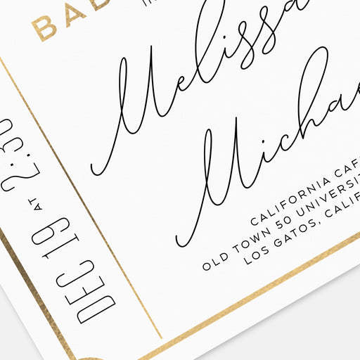Couples Ticket Baby Shower Invitations – Detail View