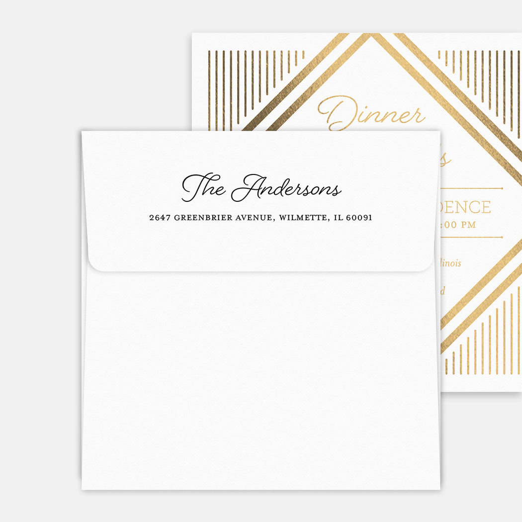 Dinner & Drinks Party Invitations – Printed Return Address