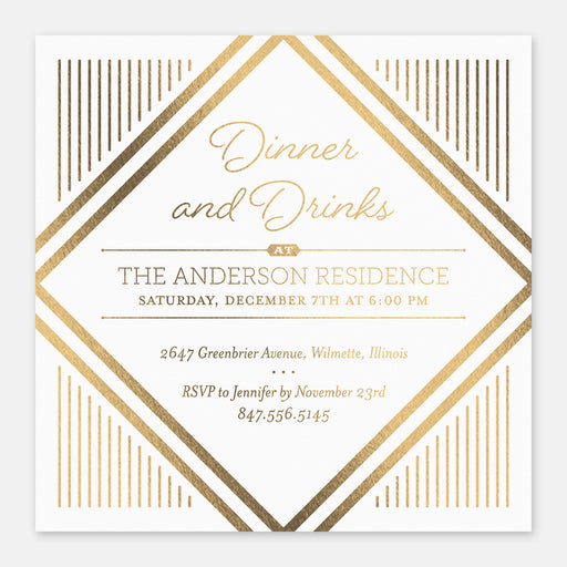 Dinner & Drinks Party Invitations – Front View