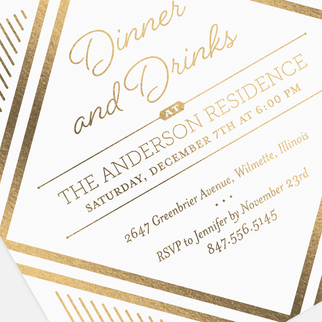 Dinner & Drinks Party Invitations – Detail View