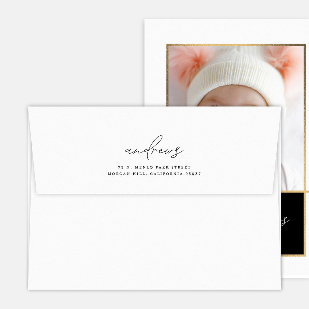 Elegant Intro Birth Announcements – Printed Return Address