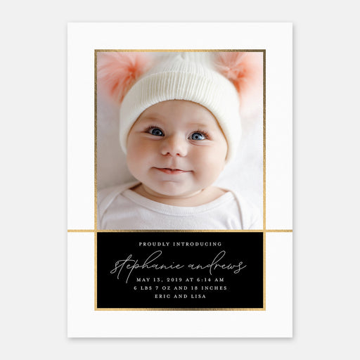 Elegant Intro Birth Announcements – Front View