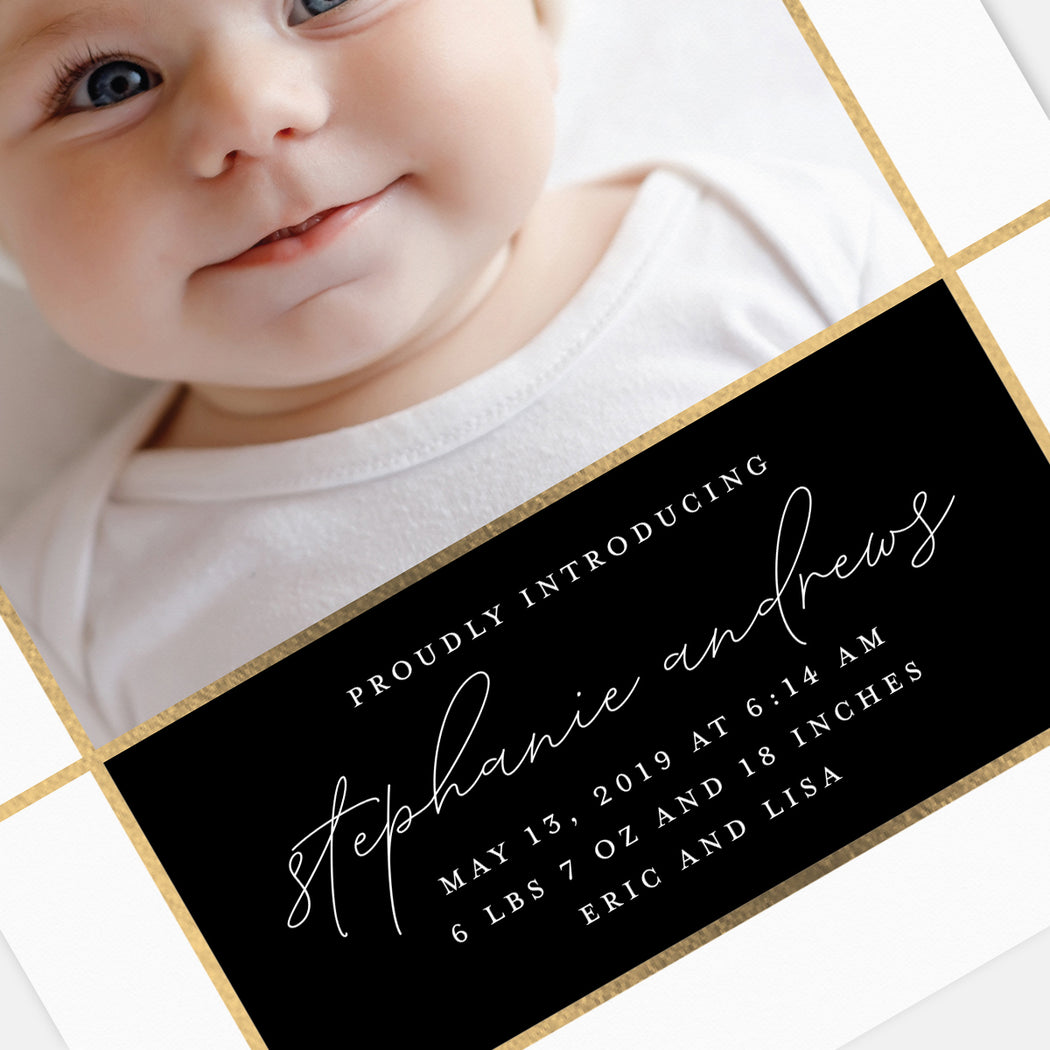 Elegant Intro Birth Announcements – Detail View