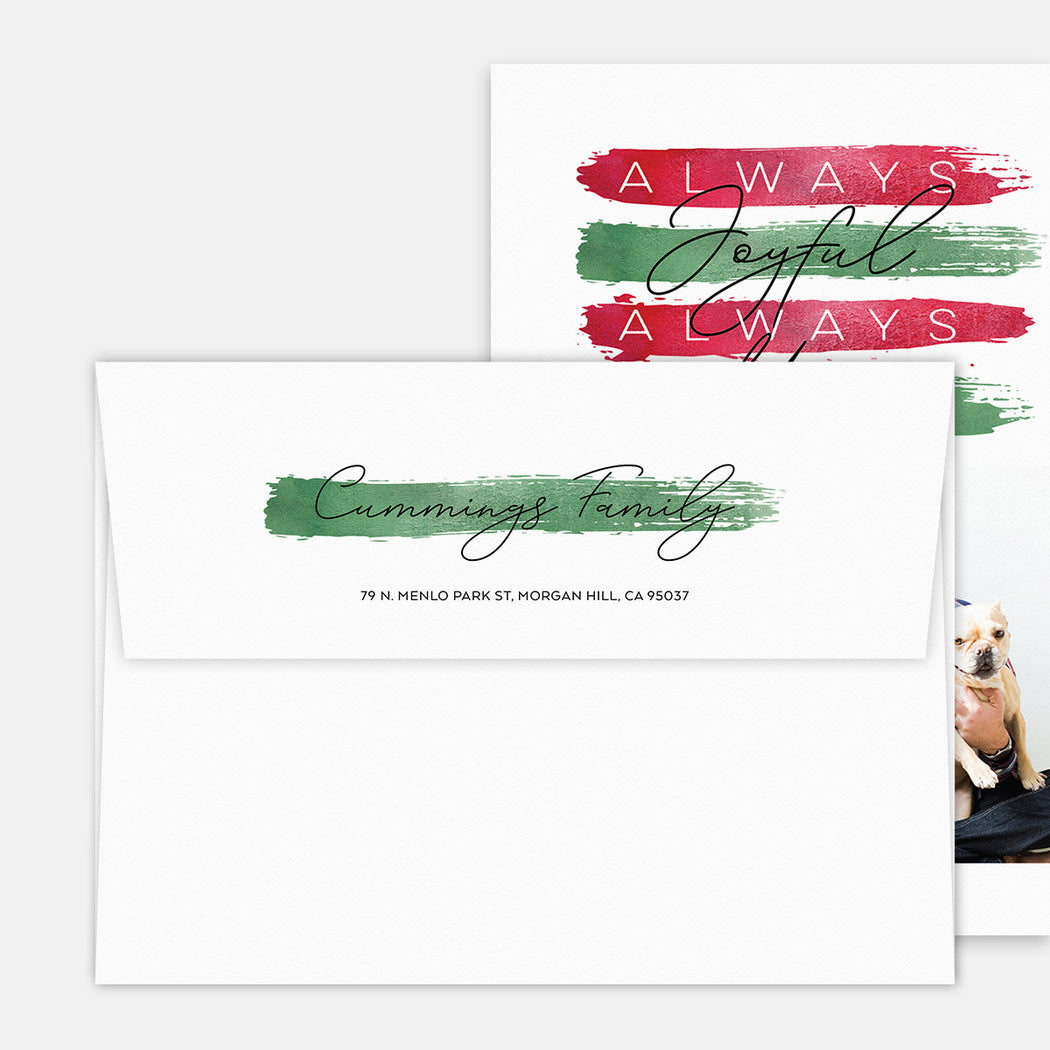 Festive Stripes Holiday Cards – Printed Return Address
