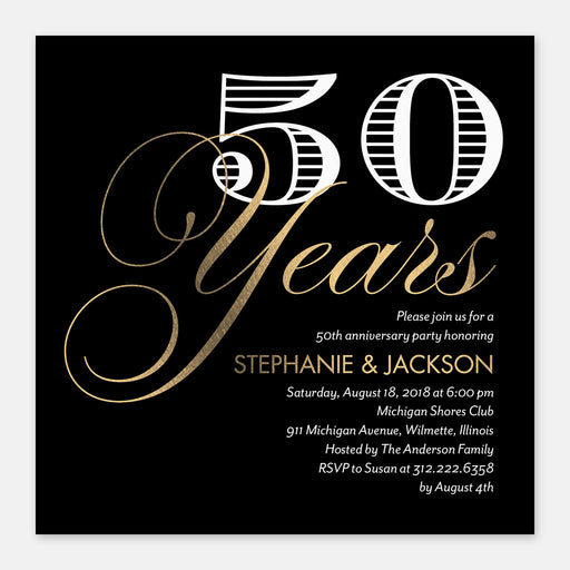 Fifty Years Anniversary Party Invitations – Front View
