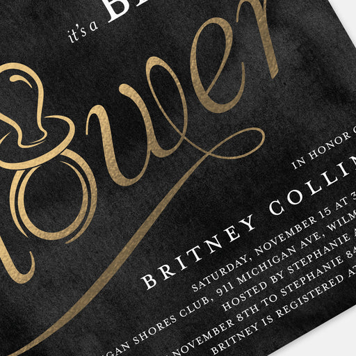 Golden Binky Baby Shower Invitations – Detail View
