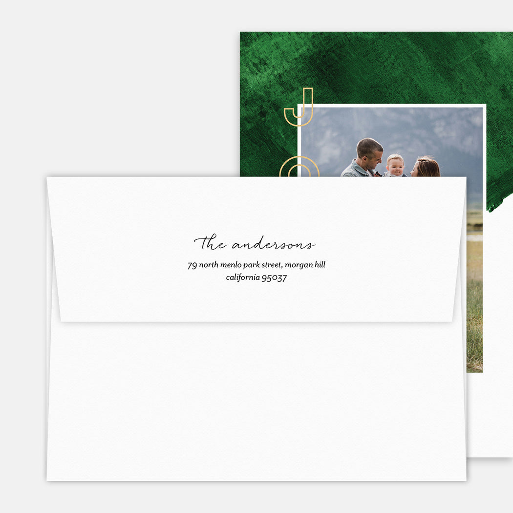 Green Backing Holiday Cards – Printed Return Address