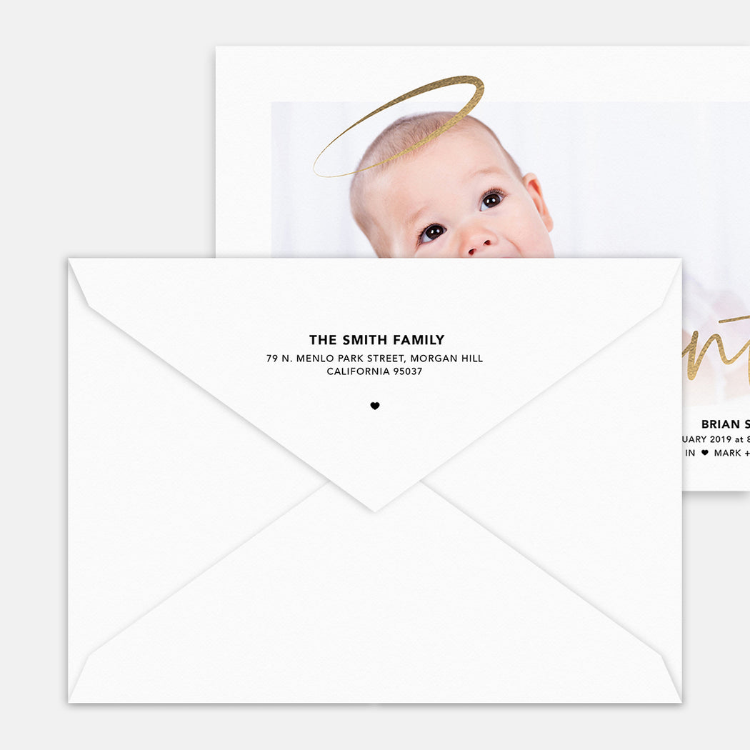 Heaven Sent Birth Announcements – Printed Return Address