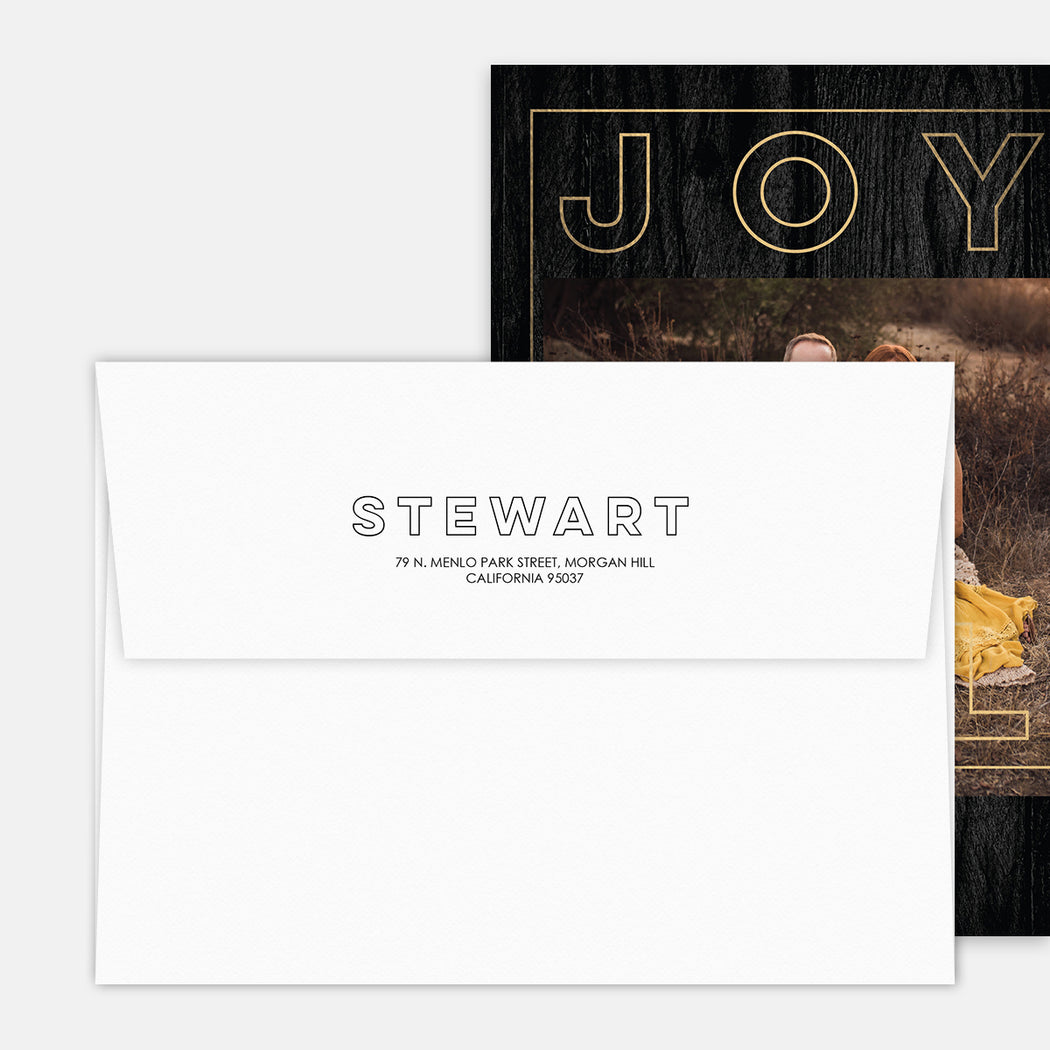 Joyful Outline Holiday Cards – Printed Return Address