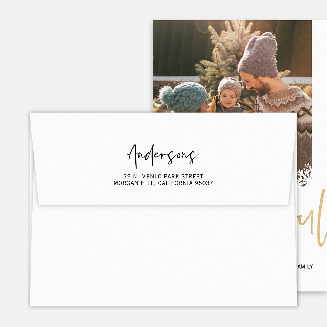 Joyful Snow Holiday Cards – Printed Return Address