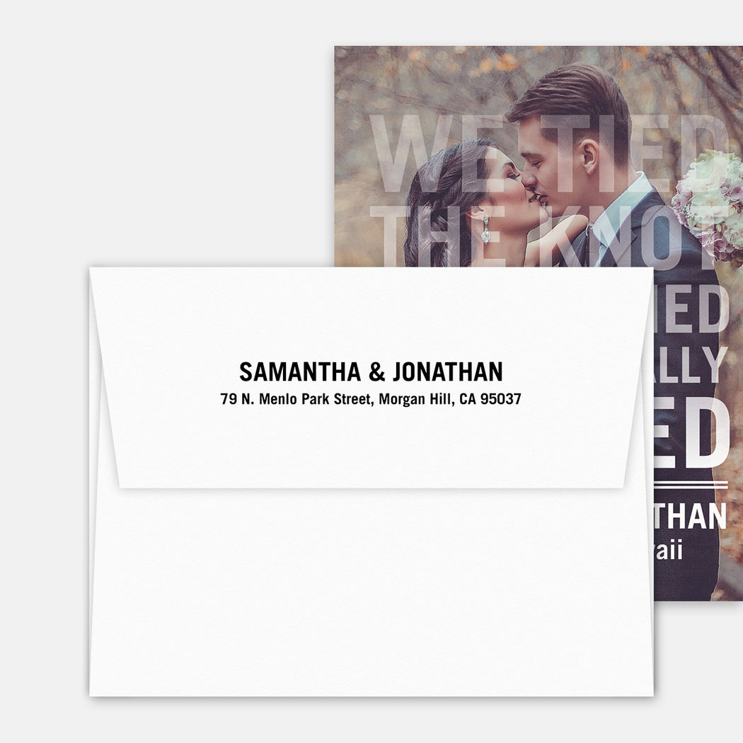 Knot Tied Marriage Announcements – Printed Return Address