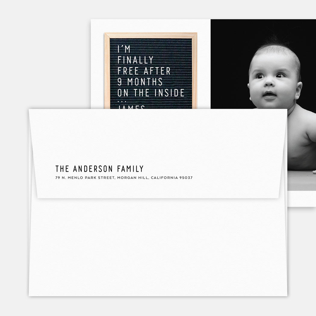 Letter Board Birth Announcement – Printed Return Address