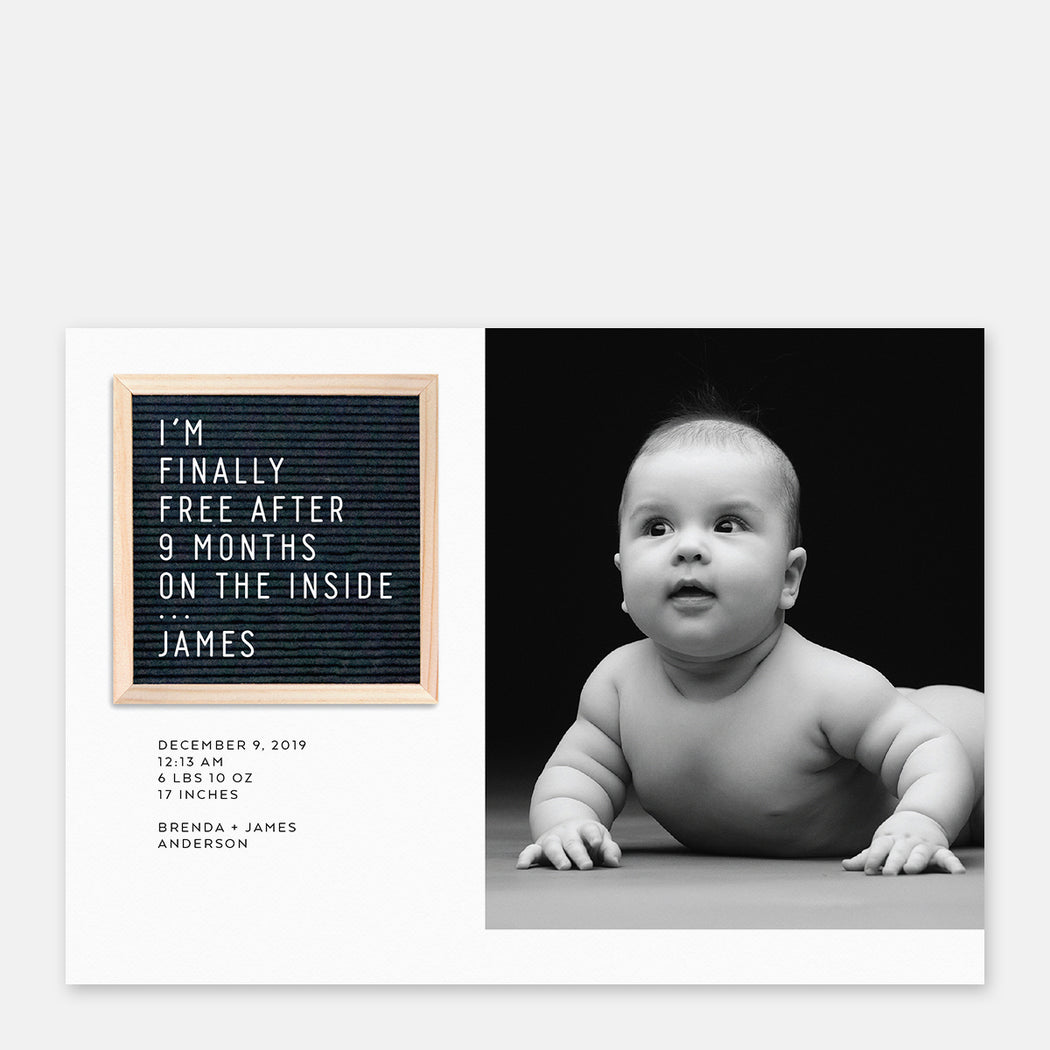 Letter Board Birth Announcements – Front View