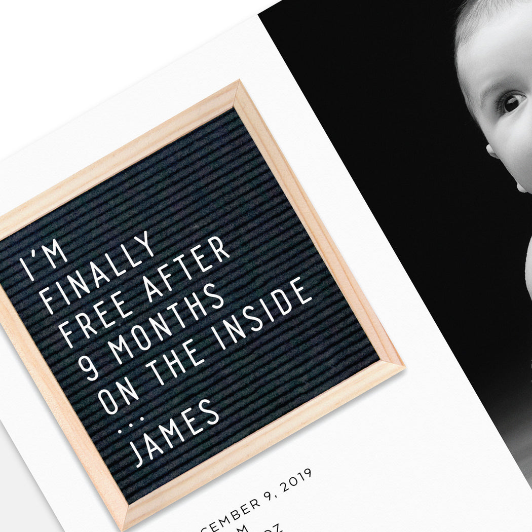 Letter Board Birth Announcement – Detailed View