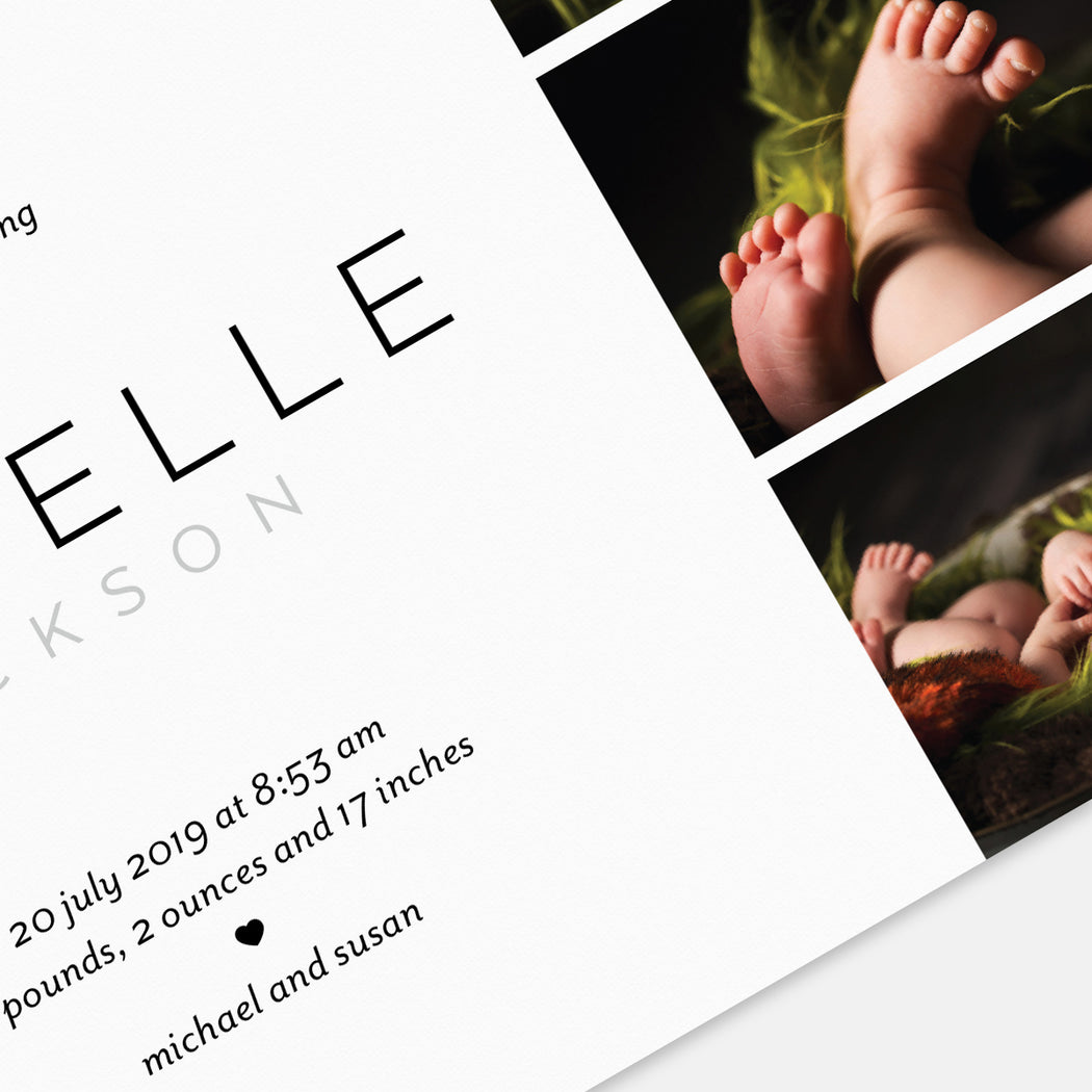 Lovely Intro Birth Announcements – Detail View