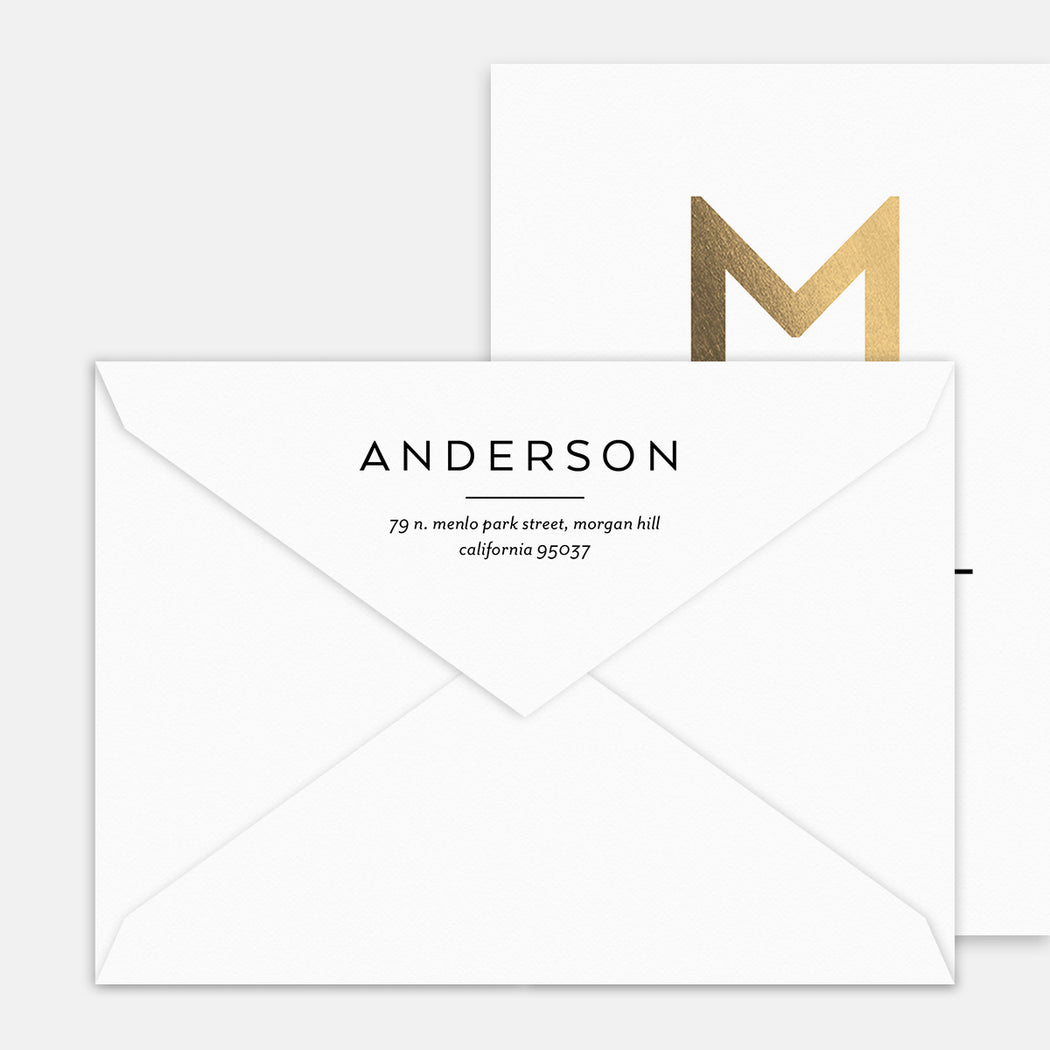 Main Monogram Birth Announcements – Printed Return Address
