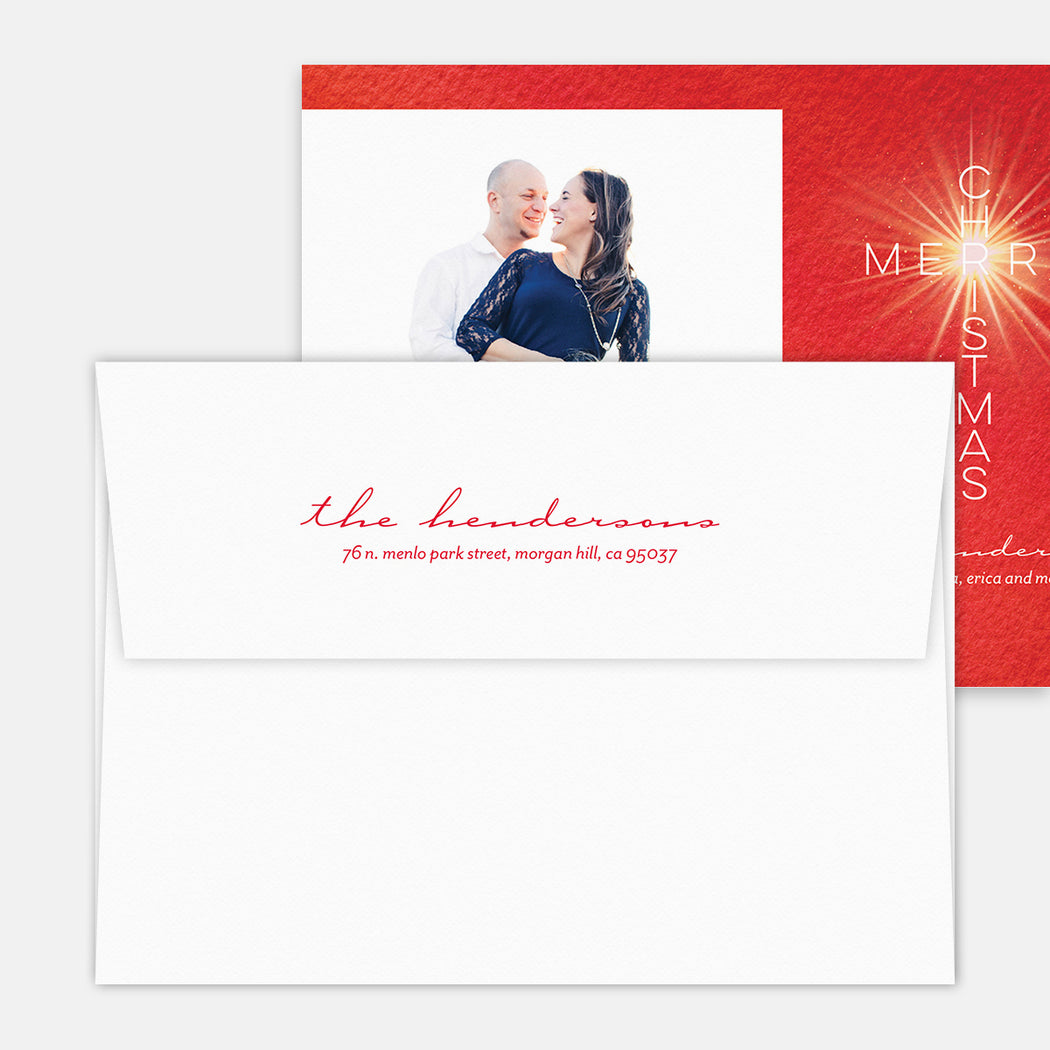 Merry Cross Holiday Cards – Printed Return Address