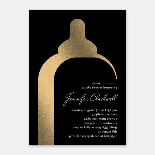 Modern Bottle Baby Shower Invitations – Front View