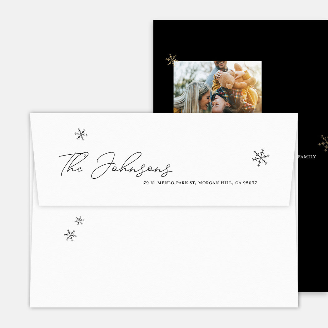 Modern Merry Holiday Cards – Printed Return Address